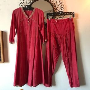 Red tunic and Billow Pants India